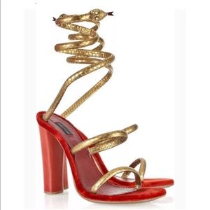Marc Jacobs Snake Wrap Around Coil Sandals 39